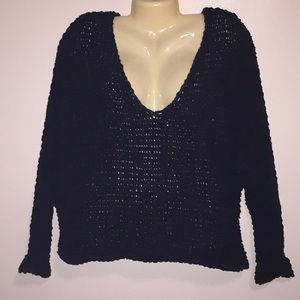 Free People Chunky Black V-neck Knit Sweater Sz XS